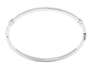 14k White Gold Prong Set And Bezel Set Bangles-DBR25