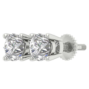 Natural Round Diamond Solitaire Stud Earring I1 G 2.10 Ct 14k Solid Gold