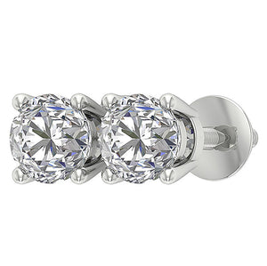 Natural Round Diamond White Gold Stud Earring-DST45-2.50-7