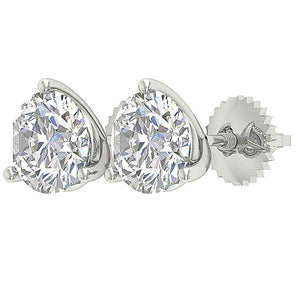 Round Cut Diamond Gold Earring Anniversary's Gift-E-435-2.10-9