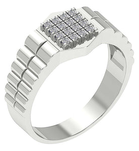 Mens Wedding Ring SI1/I1 G 0.30Ct Round Diamond 14k Solid Gold Prong Set Width 10.80MM