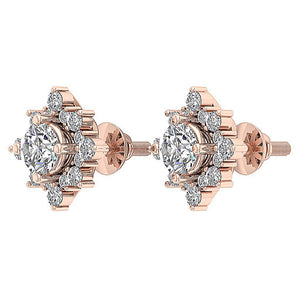 Designer Halo Solitaire Stud Earring 14k/18k Solid Gold Round Diamond SI1 G 1.80Ct