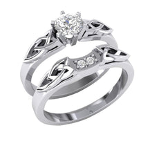 Load image into Gallery viewer, Bridal Genuine Diamonds Ring Set Side View