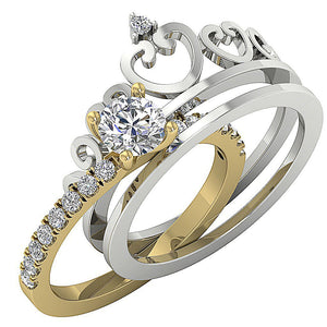 14k Solid Gold Side View Bridal Ring Set