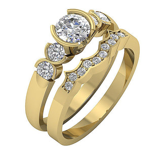 14k Yellow Gold Prong Setting In Bridal Ring Set