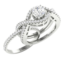 Load image into Gallery viewer, Genuine Diamond Side View Bridal Ring Set