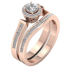 Load image into Gallery viewer, 14k Rose Gold Side View Halo Bridal Ring Set