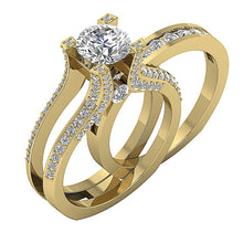 Load image into Gallery viewer, 14k Yellow Gold Side Veiw Bridal Ring Set-DCR109