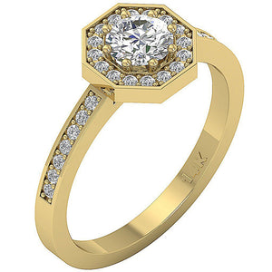 Side View 14K Halo Solitaire Engagement Ring-DSR232