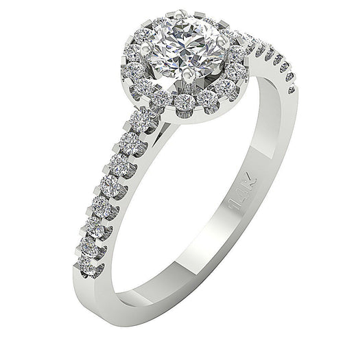 Side View 45K Halo Accent With Solitaire Anniversaryt Ring-DSR219