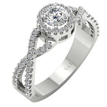 Load image into Gallery viewer, Solitaire With Accent Round Diamond Engagement Ring SI1 G 1.10 Ct 14K Solid Gold