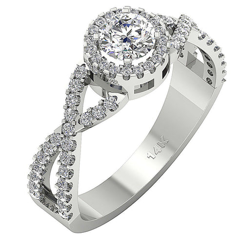 Side View Accent Solitaire Anniversary Ring 14K White Gold-DSR223