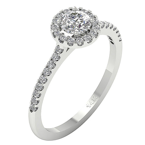 Side View Double Halo Ring 14K White Gold-DSR197
