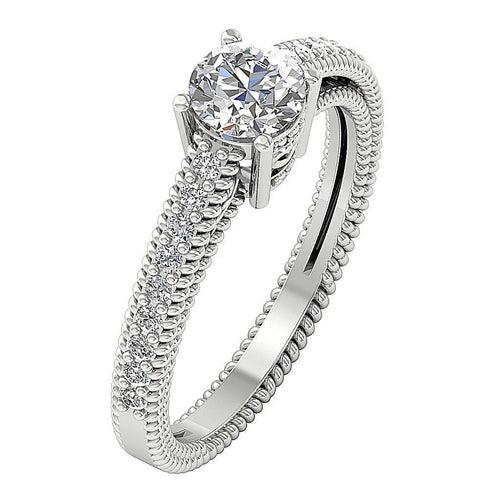 Side View Engagement Ring 14K Whit gold-DSR481