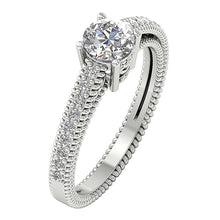 Load image into Gallery viewer, Accent Solitaire Engagement Round Cut Diamond Ring I1 G 1.00 Ct 14k Solid Gold