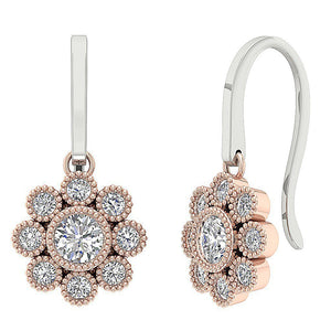 Rose Gold Halo Earrings-DE108