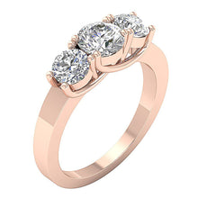 Load image into Gallery viewer, 14K Rose Gold 3 Stone Anniversary Ring Prong Set-TR-102-4