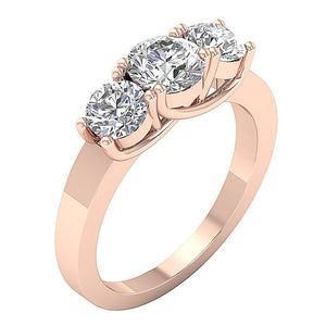 14K Rose Gold 3 Stone Anniversary Ring Prong Set-TR-102-4
