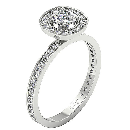 Side View Round Cut Diamond Solitaire-DSR210
