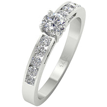Load image into Gallery viewer, Side View Round Diamond Ring Prong Set 14K-DSR62