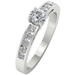 Side View Round Diamond Ring Prong Set 14K-DSR62