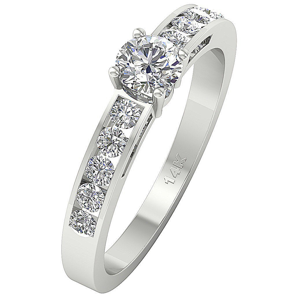 Accent Solitaire Anniversary Round Cut Diamond Ring I1 G 1.01 Ct 14k Solid Gold