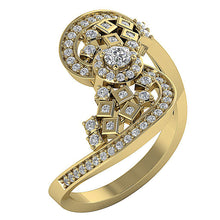 Load image into Gallery viewer, Accent With Solitaire Halo Designer Natural Diamond Anniversary Ring I1 G 0.60 Ct Solid Gold