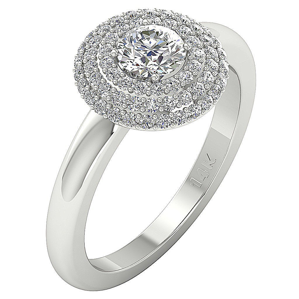 Side View Solitaire Double Halo Natural Diamond Ring-DSR221