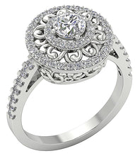Load image into Gallery viewer, 14K White Gold Side View Halo Solitaire Diamond Ring-SR-927-1
