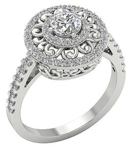 14K White Gold Side View Halo Solitaire Diamond Ring-SR-927-1