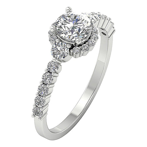 Side View Solitaire Halo Round Cut Diamond White Gold-DSR610
