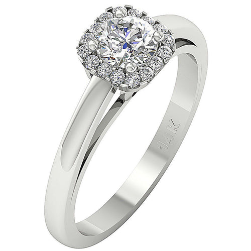 Side View Solitaire Halo Round Diamond Ring 14K-DSR129