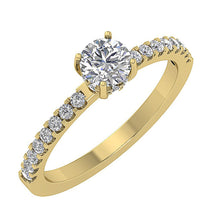 Load image into Gallery viewer, Accent Solitaire Wedding Round Natural Diamond Ring SI1 G 0.90 Ct 14k Solid Gold