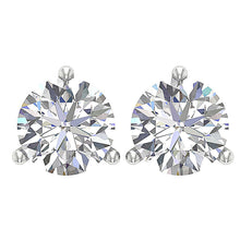 Load image into Gallery viewer, 14k/18k Solid Gold I1 G 1.70 Ct Solitaire Studs Earrings Natural Round Diamonds Martini Prong Set 6.20 MM