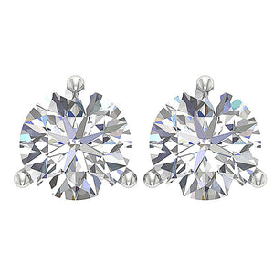 14k/18k Solid Gold I1 G 1.70 Ct Solitaire Studs Earrings Natural Round Diamonds Martini Prong Set 6.20 MM