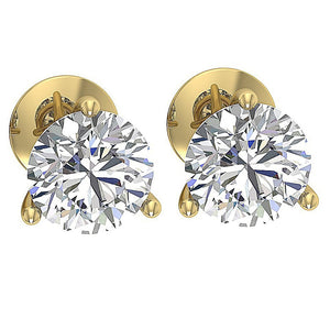 3 Prong Set Solitaire Studs 14K Solid Yellow Gold DST95-1.50