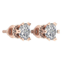 Load image into Gallery viewer, 14k Rose Gold Earring Set Solitaire Studs