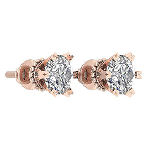14k Rose Gold Earring Set Solitaire Studs
