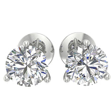 Load image into Gallery viewer, 14K White Gold Solitaire Studs Cross Side DST95-1.50