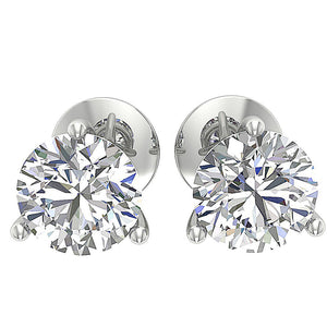 14K White Gold Solitaire Studs Cross Side DST95-1.50