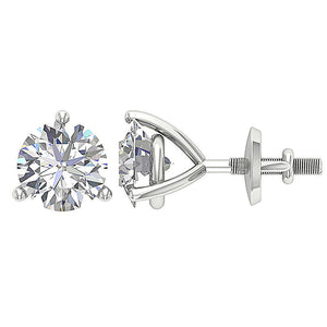 14K White Gold Solitaire Studs Screw Backs DST95-1.50