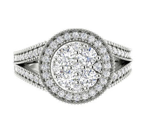Solitaire Halo 14K Prong Setting Round Cut Designer Ring Top-SR-1089
