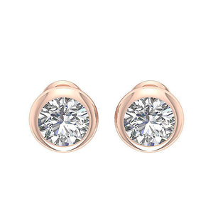 14k-18k Rose Gold Solitaire Studs Natural Diamond Earring-DST101-1.40CT