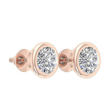 Load image into Gallery viewer, Bezel Set Solitaire Studs Earrings 14k / 18k Gold Round Diamonds I1 G 1.40Ct