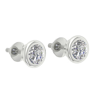 Solitaire Studs 14k-18k White Gold Bezel Set Earring-DST101-1.00CT