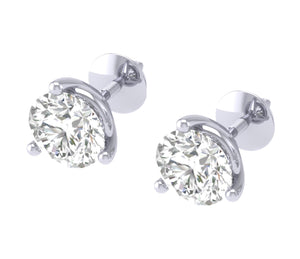 14k/18k White Gold Round Cut Diamonds Solitaire Studs Earrings I1 G 0.65Ct Martini Prong Set 4.20MM