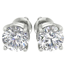 Load image into Gallery viewer, I1 G 2.10 Ct Round Diamond Solitaire Stud Earring 14k White Yellow Rose Gold