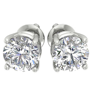 I1 G 2.10 Ct Round Diamond Solitaire Stud Earring 14k White Yellow Rose Gold