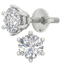 Load image into Gallery viewer, 6 Prong Set Round Brilliant Diamond Solitaire Stud Earring I1 G 2.10 Ct 14k Gold