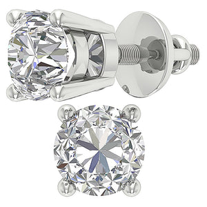 Solitaire Studs Earring White Gold-DST45-2.50-4